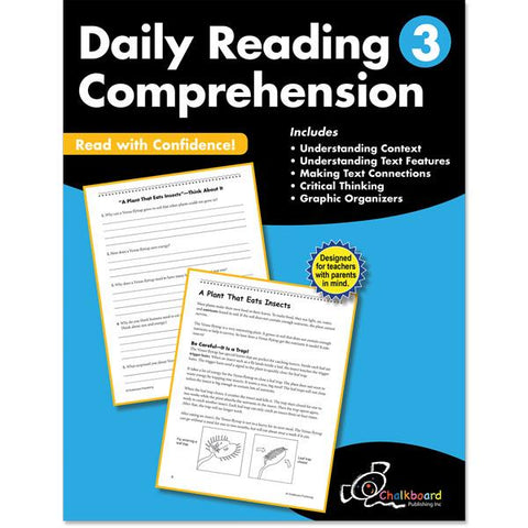 DAILY READING COMPREHENSION GRADE 3 CHALKBOARD WORKBOOK