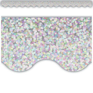 Silver Sparkle Scalloped Border Trim