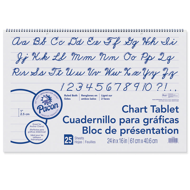 CHART TABLET 24X16 1 RULED 25 CT