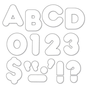 "White 4"" Casual Uppercase Letters"