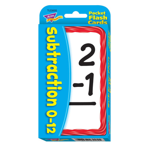 Subtraction 0-12 Pocket Flash Cards