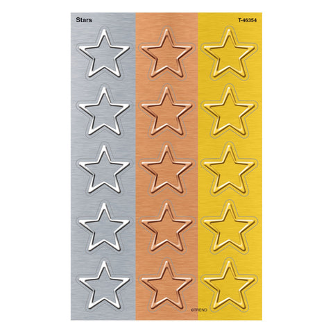 I ♥ Metal Stars Stickers - Large