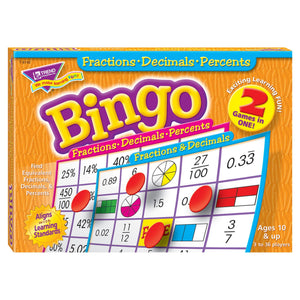 Fractions, Decimals, & Percents (2-sided) Bingo Game