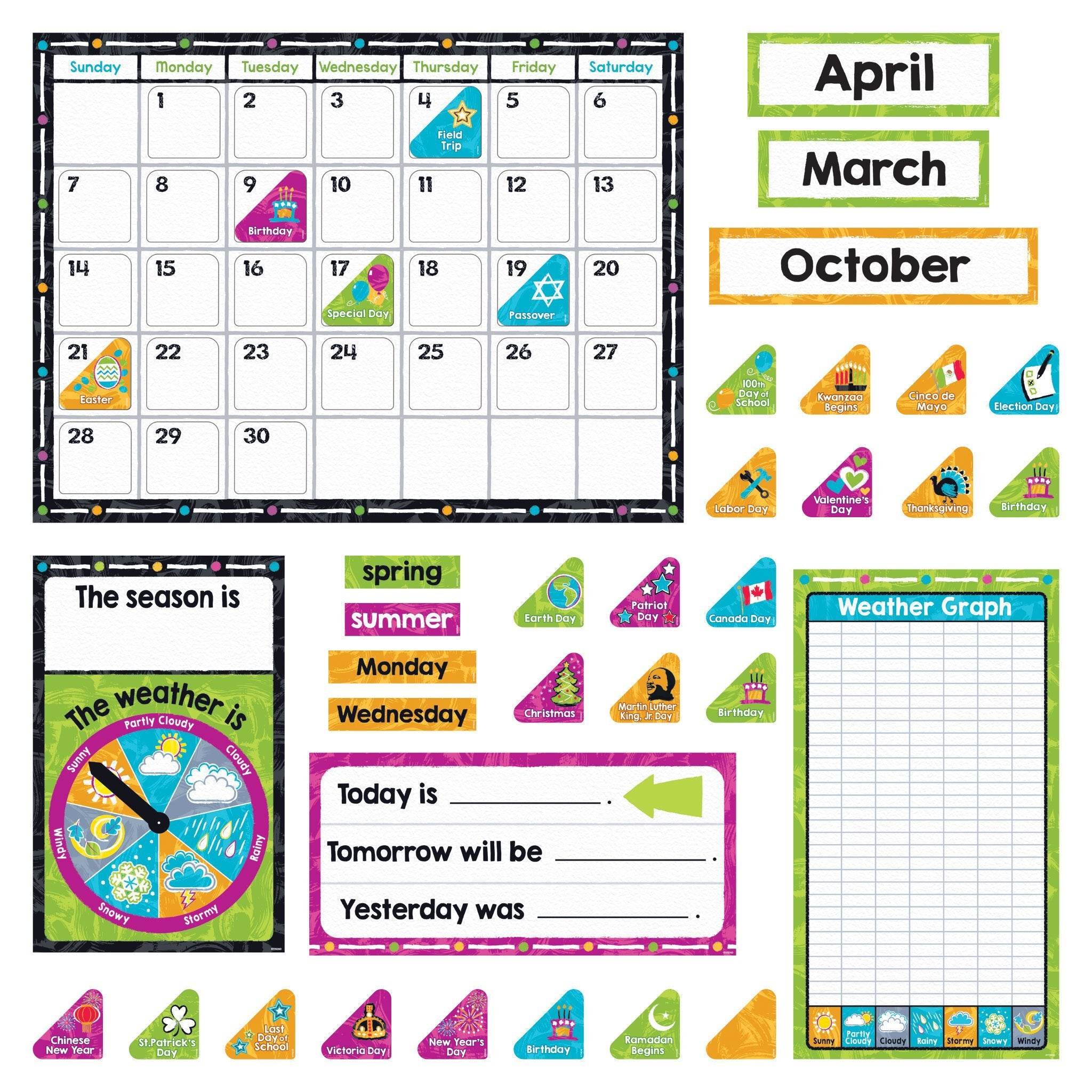 Color Harmony Calendar Bulletin Boards
