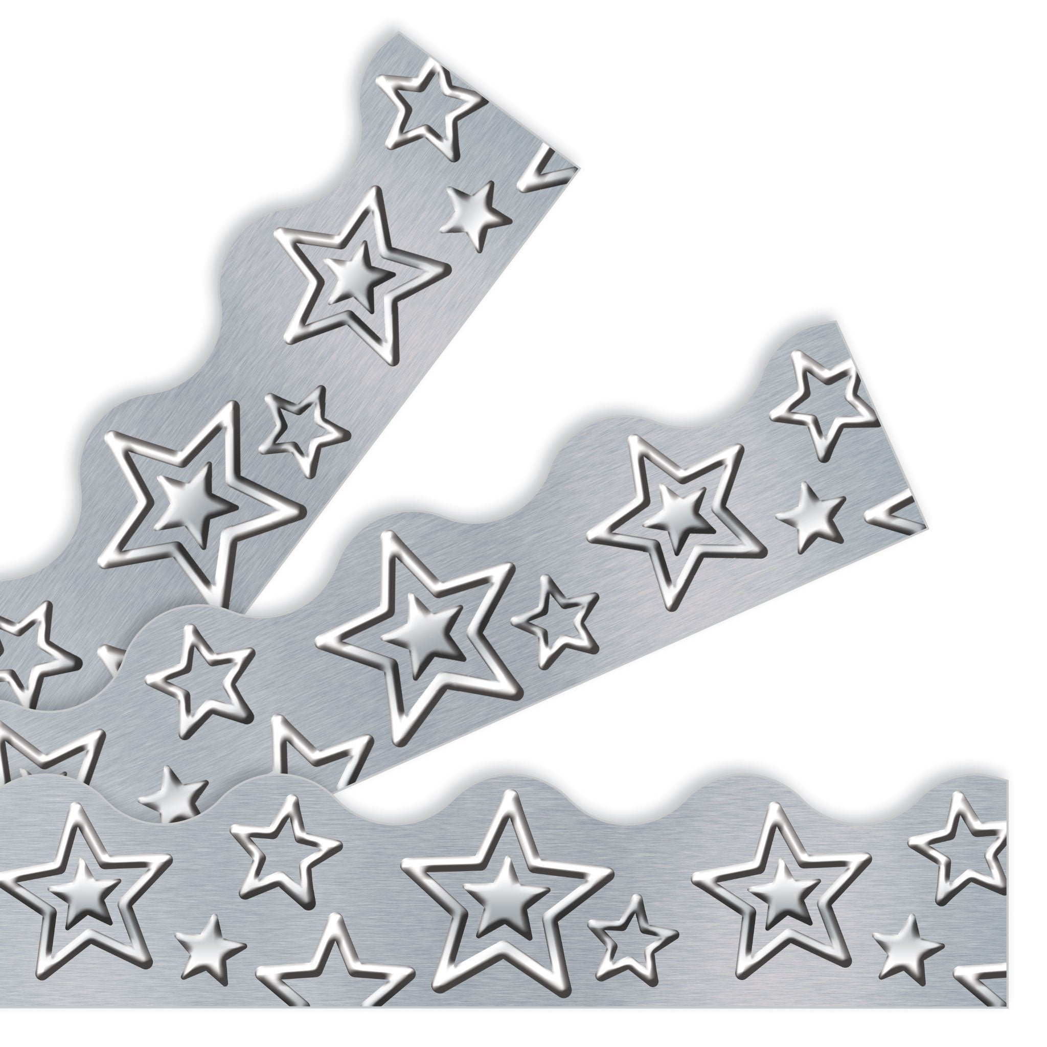I ♥ Metal Silver Stars Borders & Trimmers