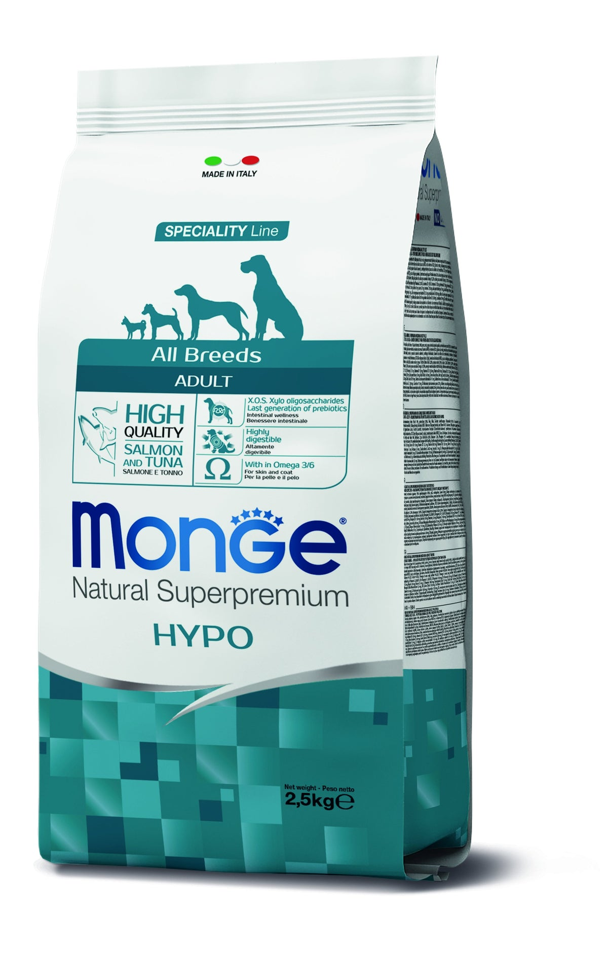 Monge Natural Superpremium secco cane NEW LINE ALL BREEDS ADULT HYPOALLERGENIC -  SALMONE&TONNO