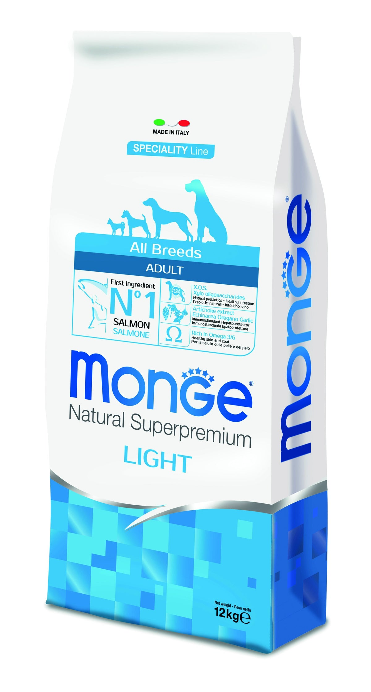 Monge Natural Superpremium secco cane NEW LINE ALL BREEDS ADULT LIGHTSALMONE&RISO