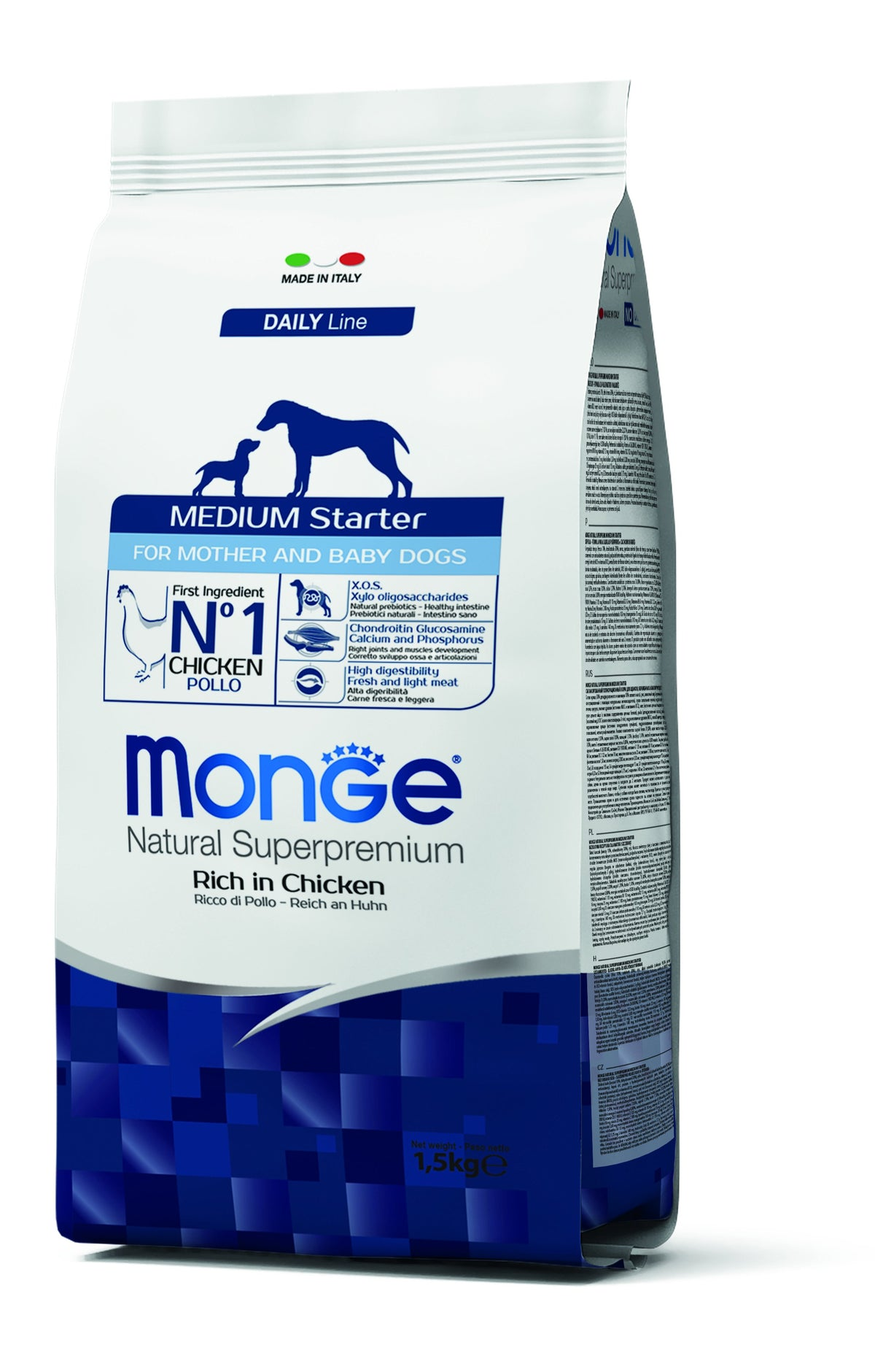 Monge Natural Superpremium secco cane NEW LINE 1.5kg MEDIUM STARTER MEDIUM STARTER POLLO
