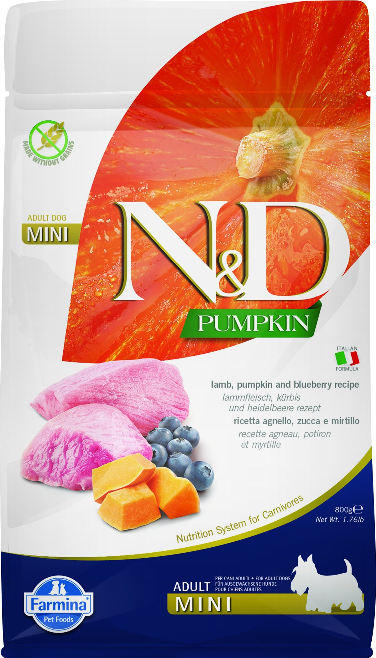N&D GF ZUCCA AGNELLO&MIRTILLI, ADULT MINI  800g