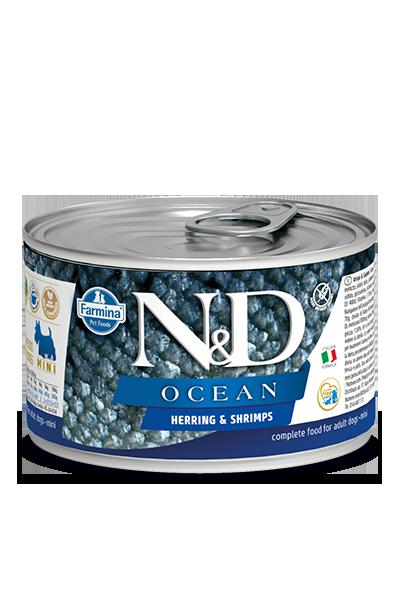 N&D DOG OCEAN ARINGA & GAMBERETTI  140g