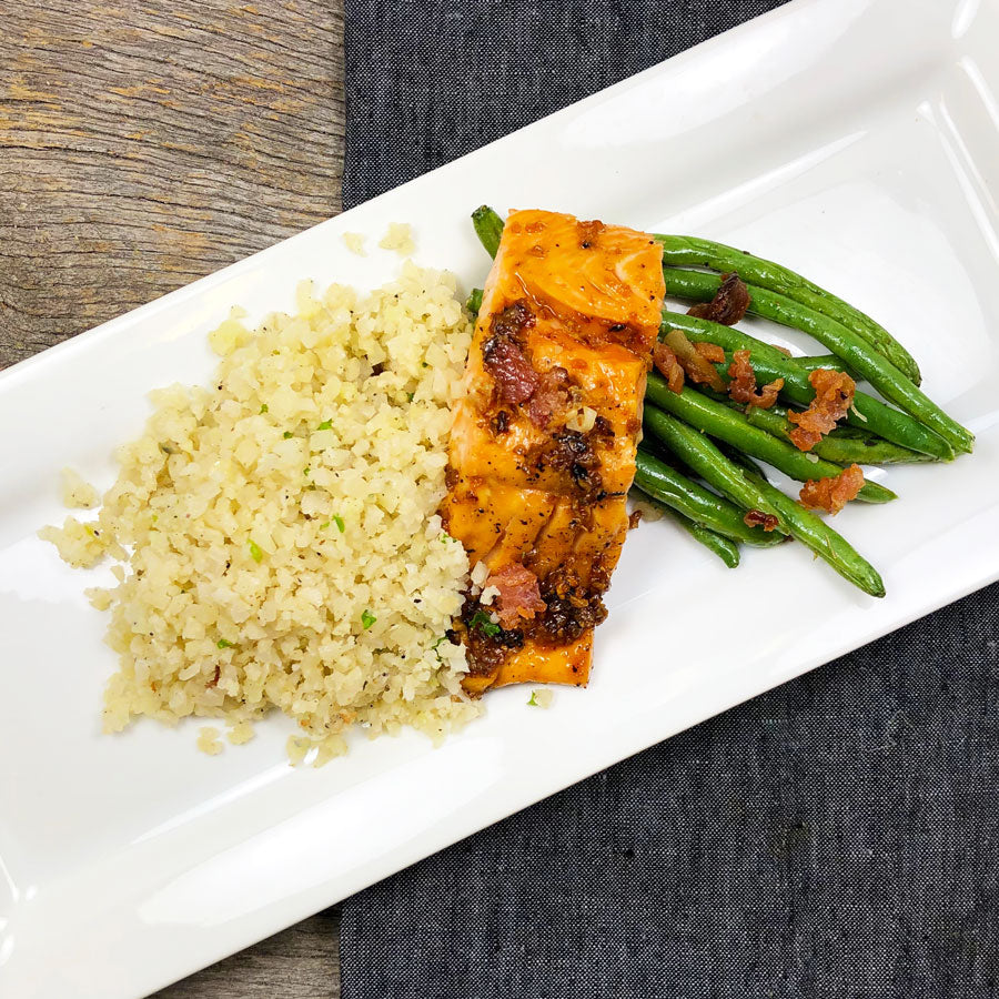 Pick Your Side: Bourbon Glazed Salmon