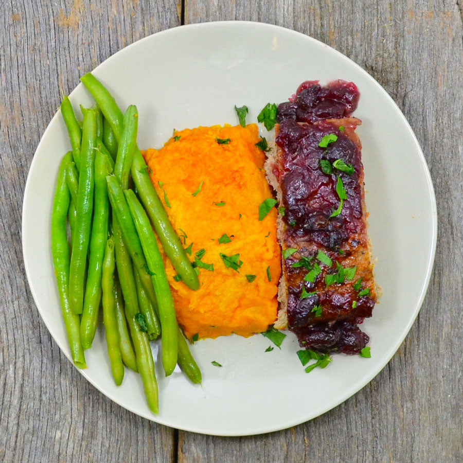 Cranberry Turkey Meatloaf with Mashed Sweet Potatoes