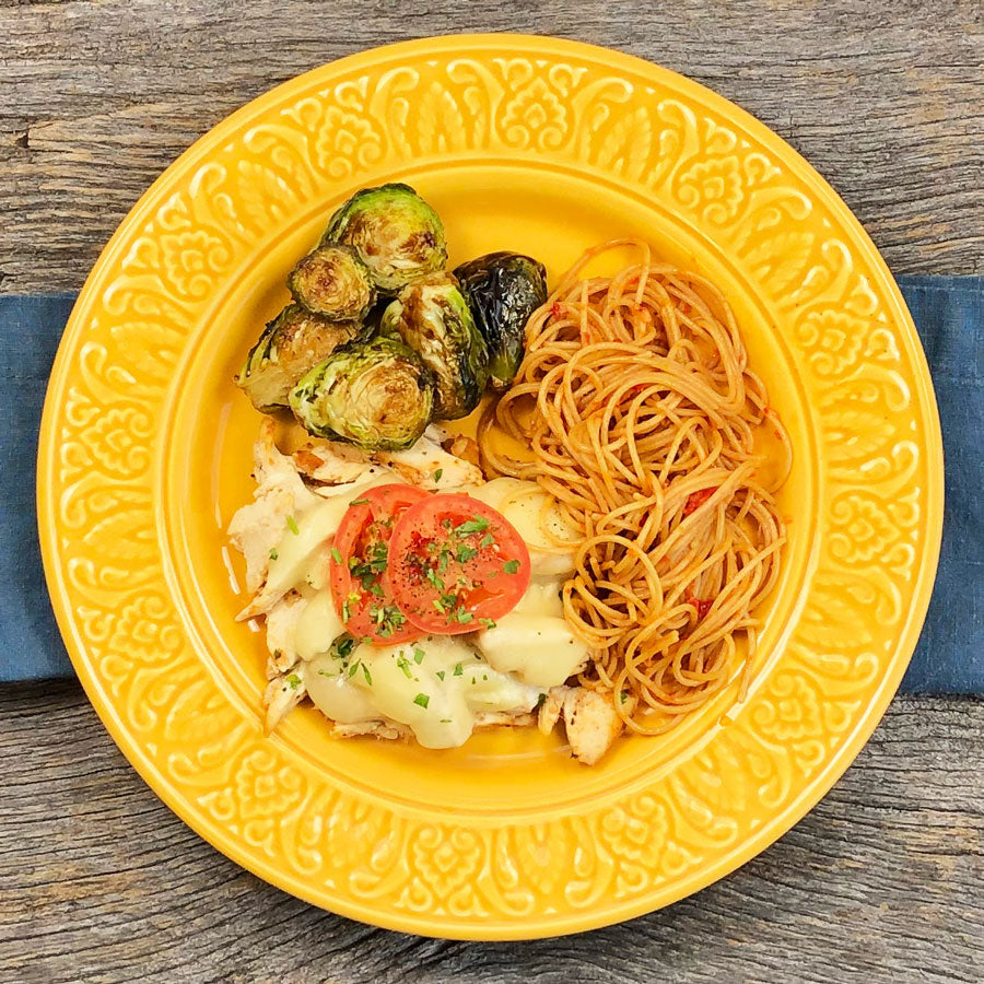 Florentine Chicken with spaghetti and Brussels