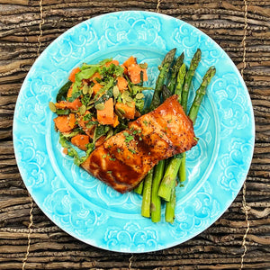 Smokey Maple Salmon with Fall Sweet Potato Salad