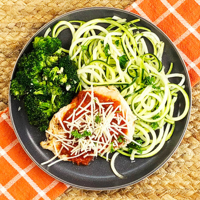 Keto Chicken Parmesan over Zoodles