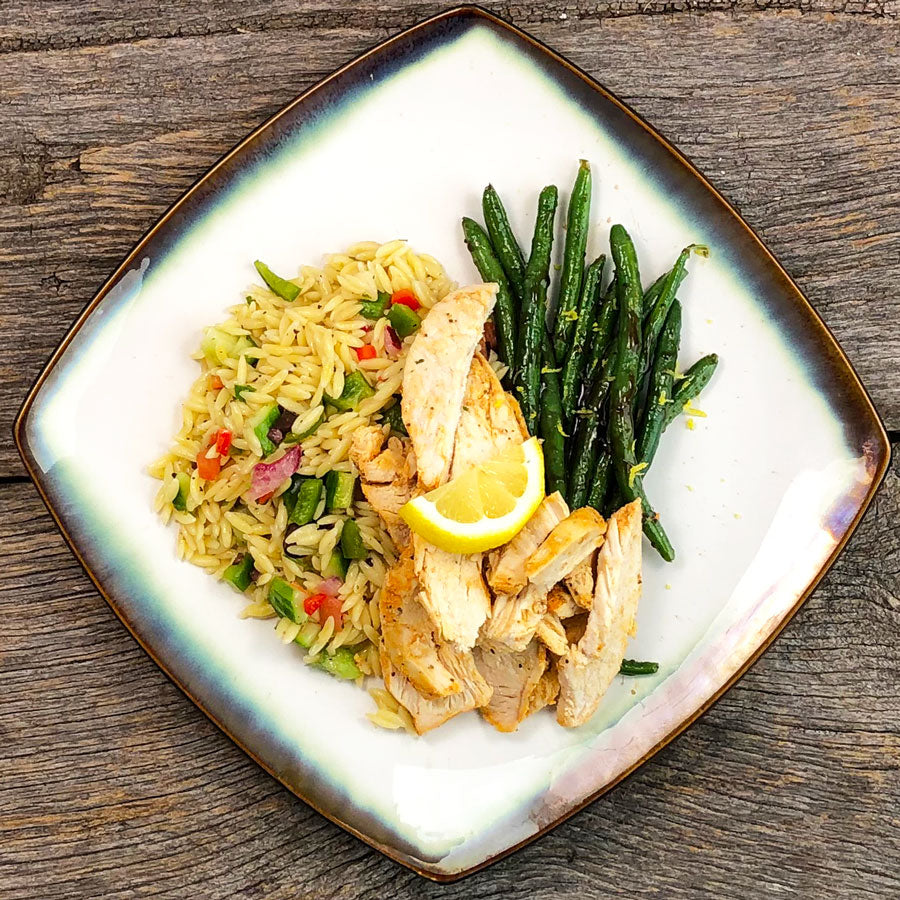 Sliced Chicken with Greek Orzo Pasta