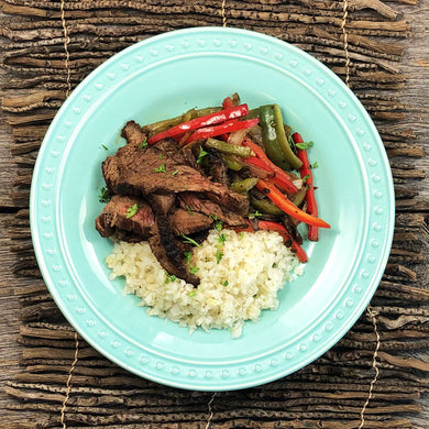 Keto Flank Steak with Stir-Fry Veggies and Caulirice