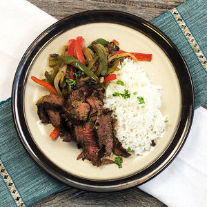 Flank Steak with Stir-Fry Veggies and Jasmine Rice
