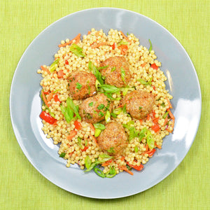 Honey Sriracha Meatballs with Israeli Cous Cous