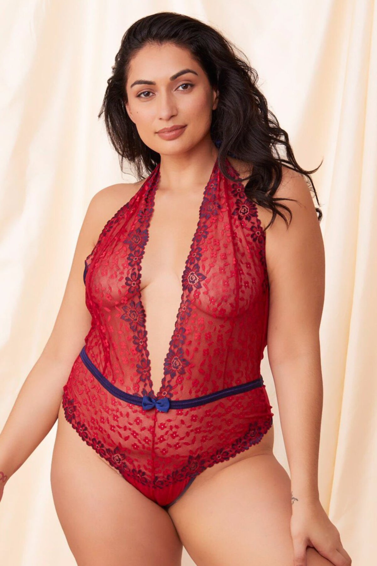 Red Lace Teddy with Open Back