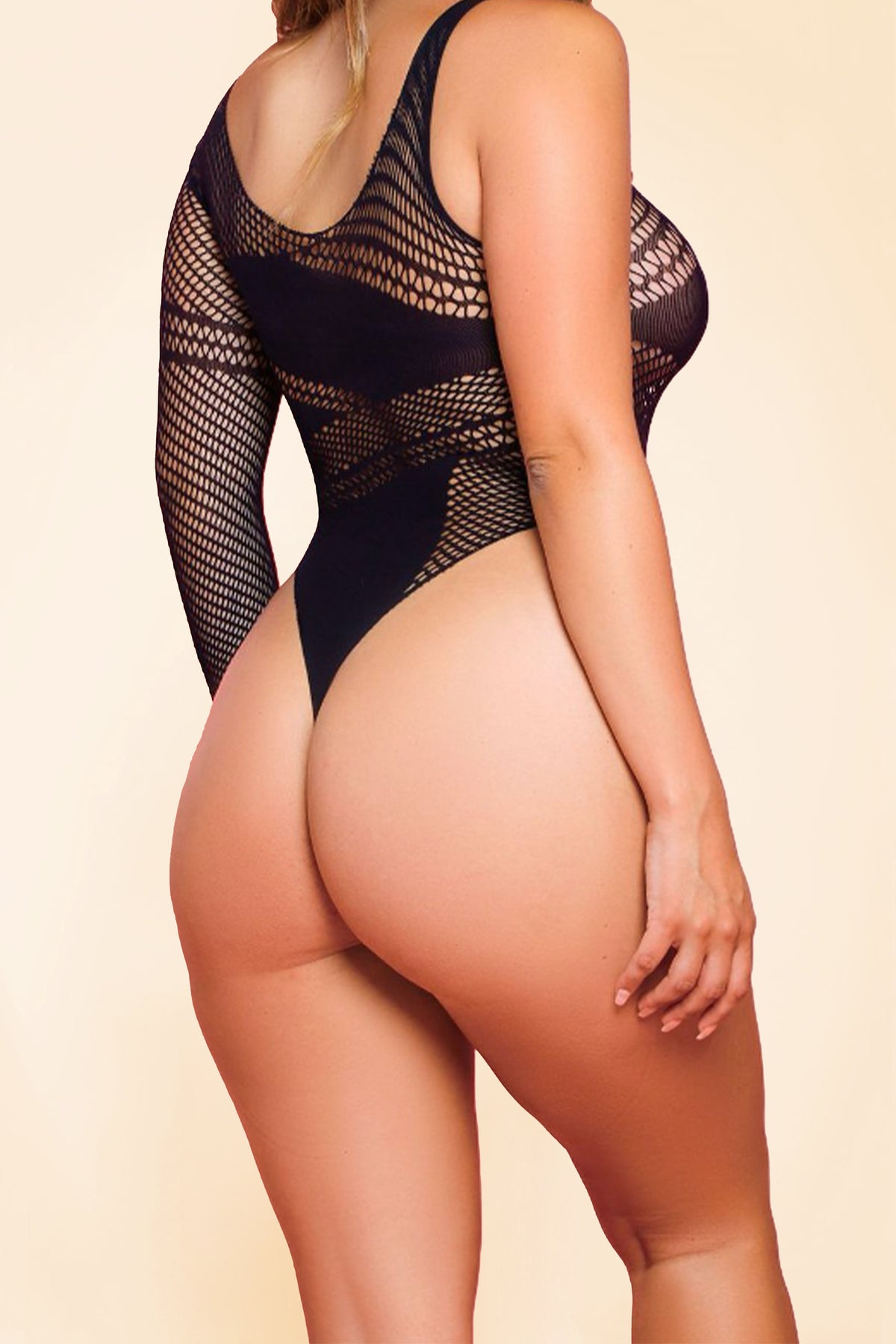 One-Sleeve Mesh Bodysuit