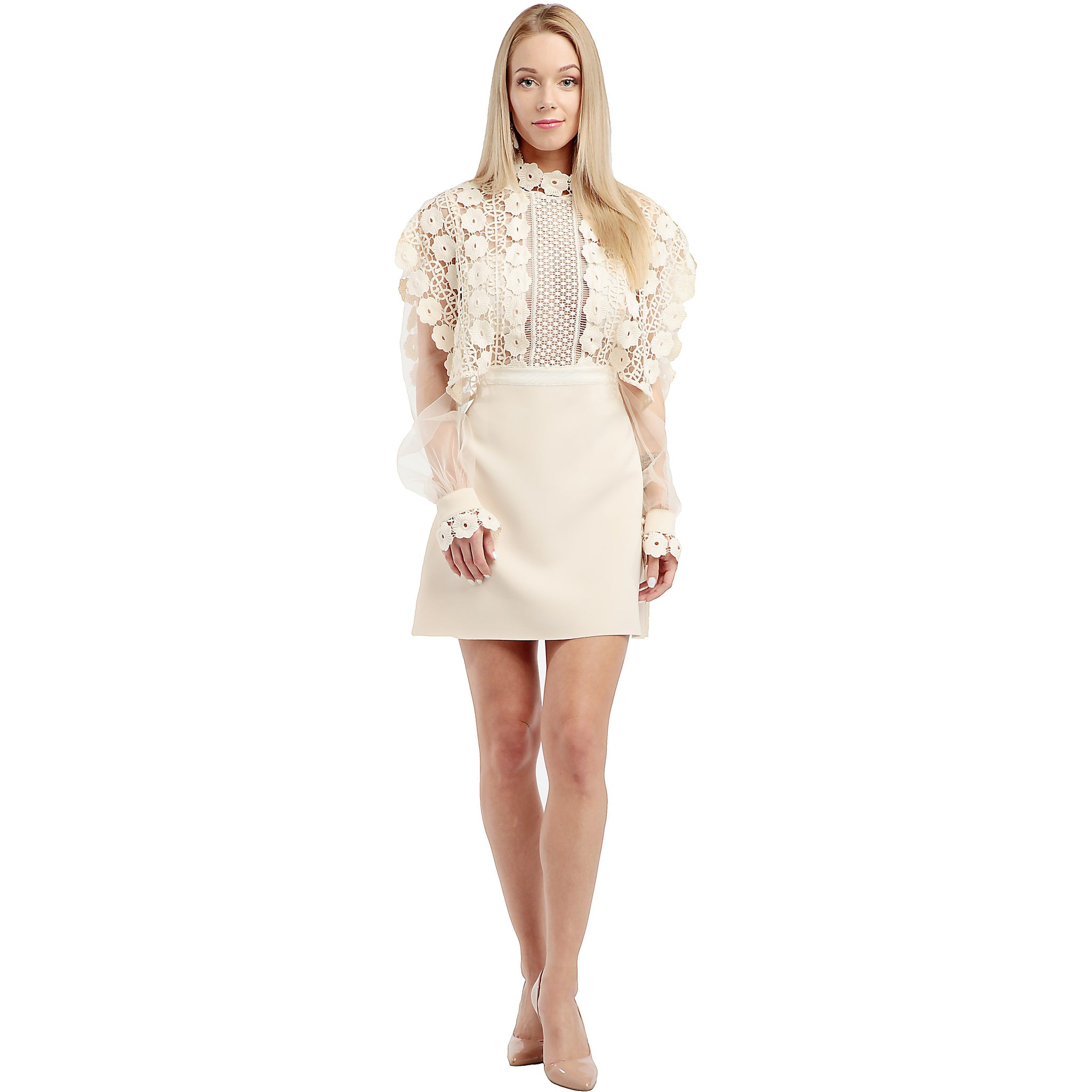 SELF - PORTRAIT Cream Lace Mini Dress