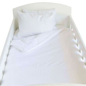 Embroidered Egyptian Cotton Classic Cot Duvet Cover Set-White