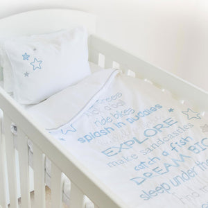 Egyptian Cotton Dream Big Blue Cot Duvet Cover Set
