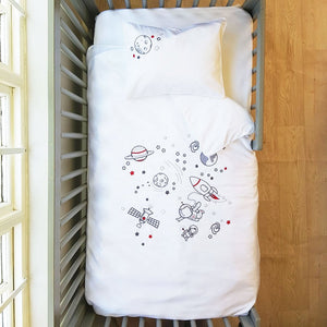 Egyptian Cotton Space Walk Cot Duvet Cover Set
