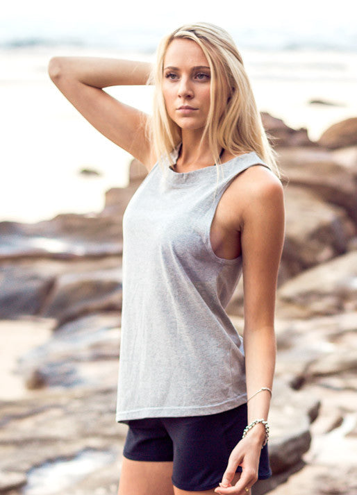 Grey asymmetrical tank by Something Like That