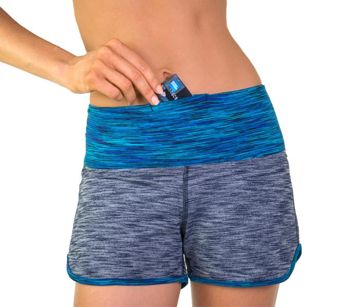 Blue stretch supplex shorts with pocket by active & beach apparel brand Something Like That