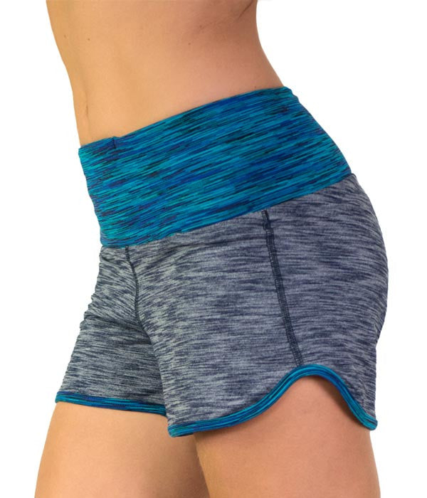 Women's blue stretch gym shorts by Something Like That
