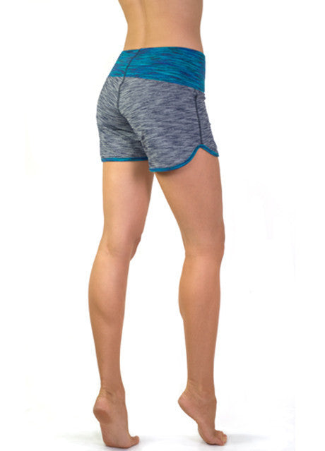 Stretchy blue workout shorts made with supplex for the ultimate comfort by Something Like That