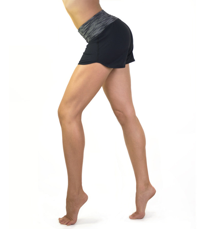 Black & grey stretch supplex shorts by active & beach apparel brand Something Like That