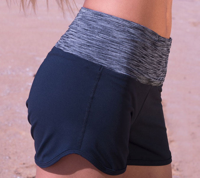 Black stretch gym shorts with high non-slip waistband by Something Like That