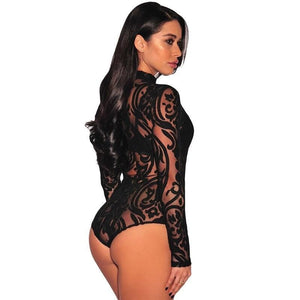 Body Sexy sans manches dentelles col roule - Ref : I4S82I7E2 - pink black / S
