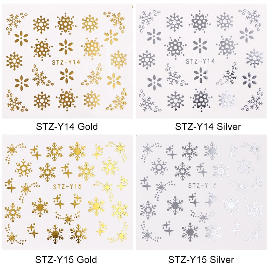 16pcset Winter Xmas Stickers For Nails Gold Silver Christmas Snowflake Water Transfer Decal Slider Manicure Decoration BESTZ-YA (8)