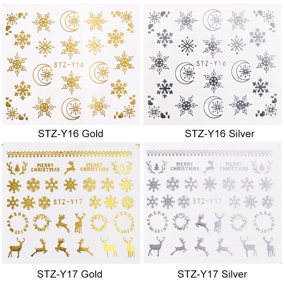 16pcset Winter Xmas Stickers For Nails Gold Silver Christmas Snowflake Water Transfer Decal Slider Manicure Decoration BESTZ-YA (9)