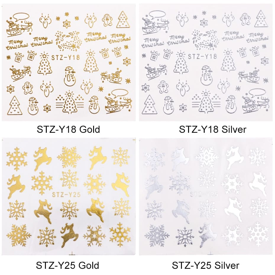 16pcset Winter Xmas Stickers For Nails Gold Silver Christmas Snowflake Water Transfer Decal Slider Manicure Decoration BESTZ-YA (10)