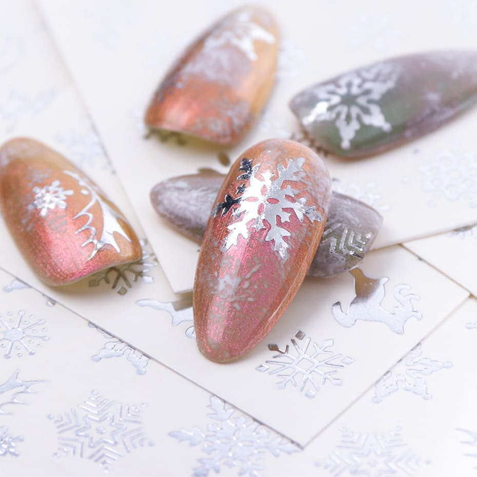 16pcset Winter Xmas Stickers For Nails Gold Silver Christmas Snowflake Water Transfer Decal Slider Manicure Decoration BESTZ-YA (11)