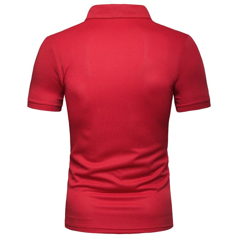 a man in a red shirt