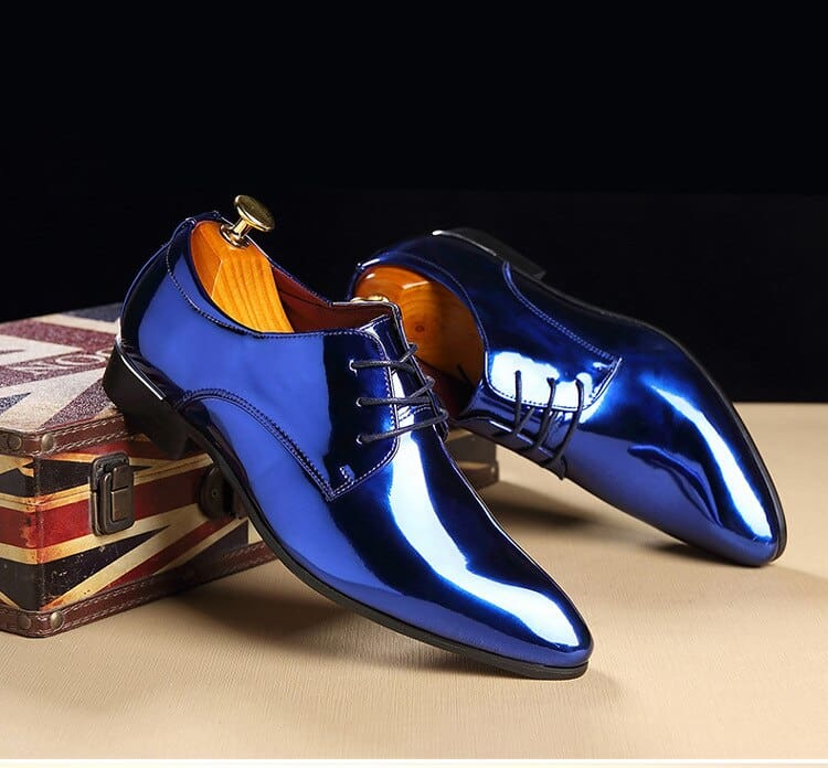 a pair of blue shoes