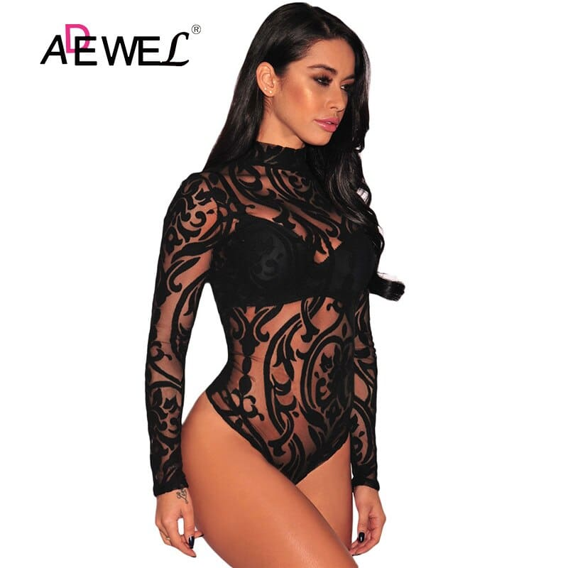 Black-Sheer-Mesh-Print-Long-Sleeves-Bodysuit-LC32110-2-1