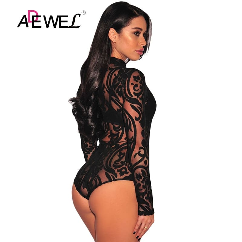 Black-Sheer-Mesh-Print-Long-Sleeves-Bodysuit-LC32110-2-2