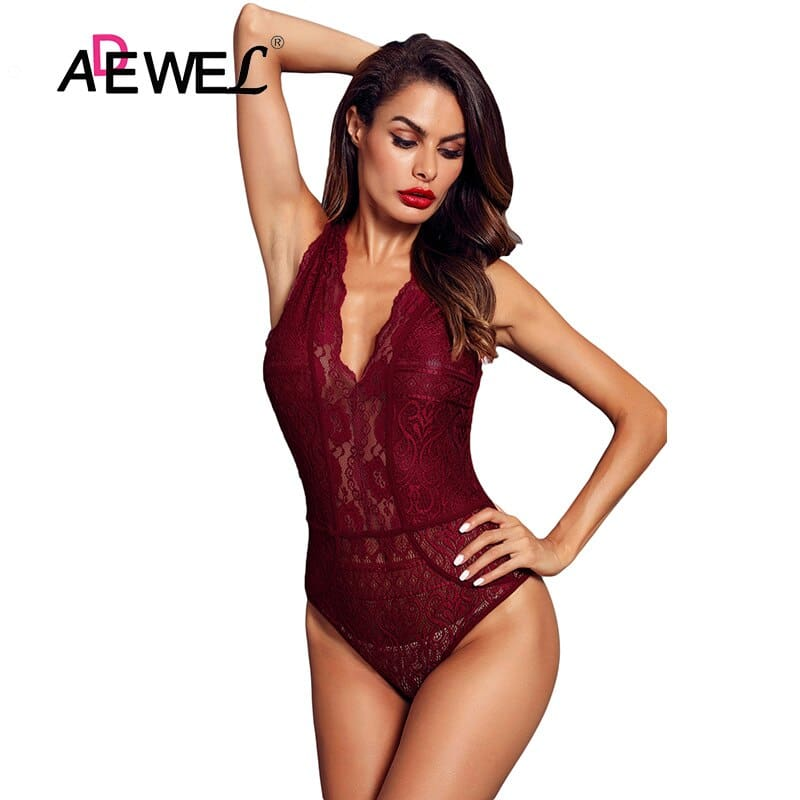 Red-V-Neck-Hollow-out-Lace-Bodysuit-LC32247-3-4