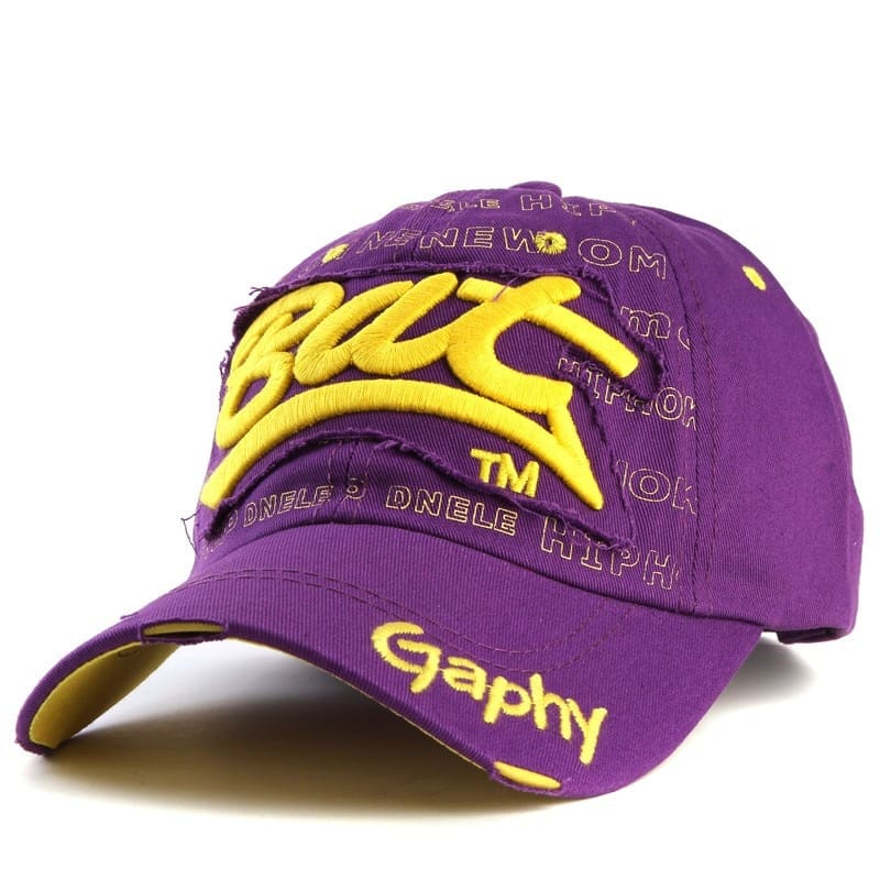 a purple and yellow hat