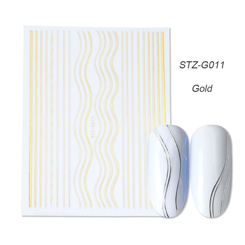 gold silver 3D stickers STZ-G011 gold