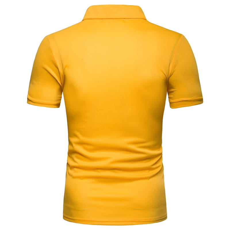 a man in a yellow shirt