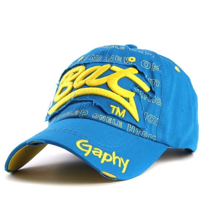 a blue and yellow hat