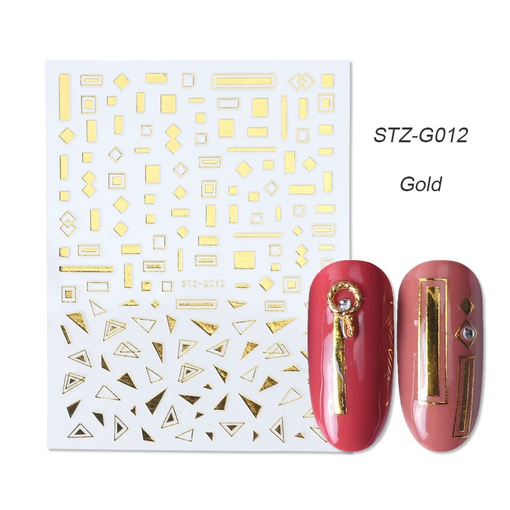 gold silver 3D stickers STZ-G012 gold